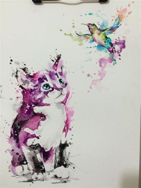 watercolor cat hummingbird drawingdrawn by javiwolfink