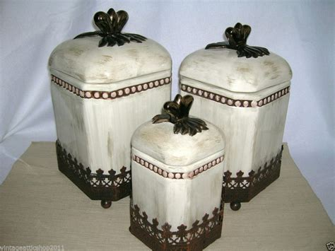 vhtf godinger tuscan cream washed metal kitchen canister home decor set metals cream and decor