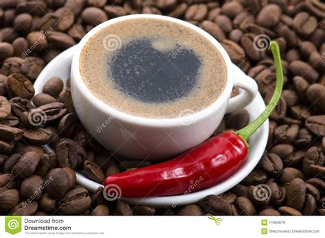 hot coffee with chili royalty free stock images image