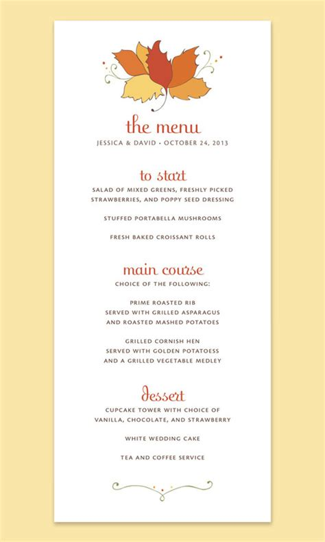 fall menu template thanksgiving menu template 27 free psd eps format