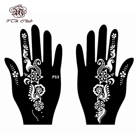 henna tattoo hand stencils aliexpress buy 2 pair henna stencil template