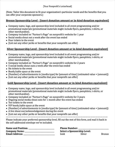 Sponsorship Letter With Levels sponsorship letters write great proposals with 12 templates