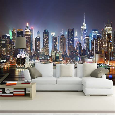 City Wallpaper For Bedroom by Seamless Bedroom Sofa Tv Background Scenery Mural