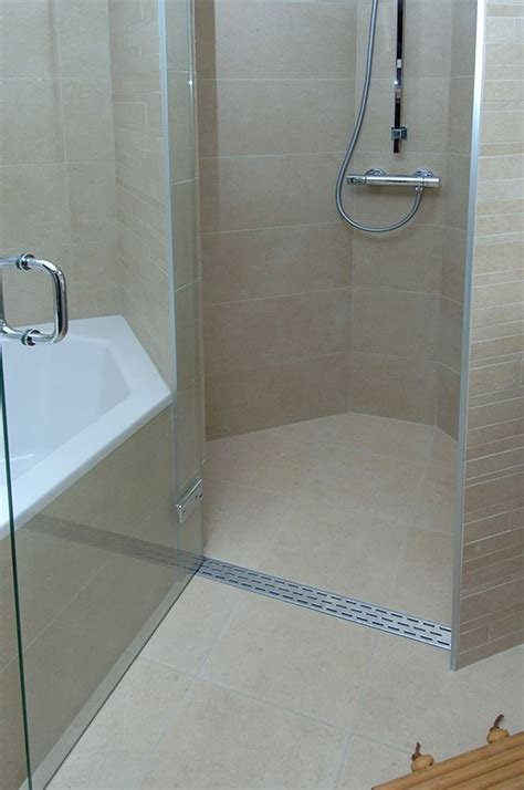 Curbless Shower Design Ideas by Infinity Drain Linear Drain For Curbless Barrier Free