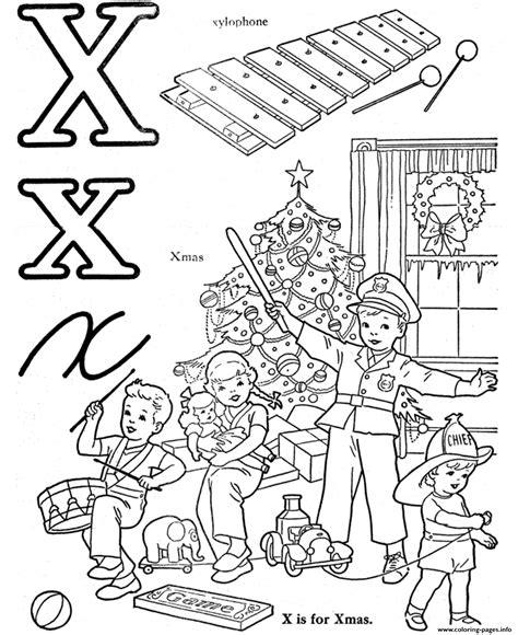 Words Letter X x words alphabet s563a coloring pages printable