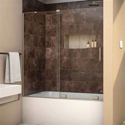 frameless bathtub door dreamline mirage x 56 in to 60 in x 58 in semi