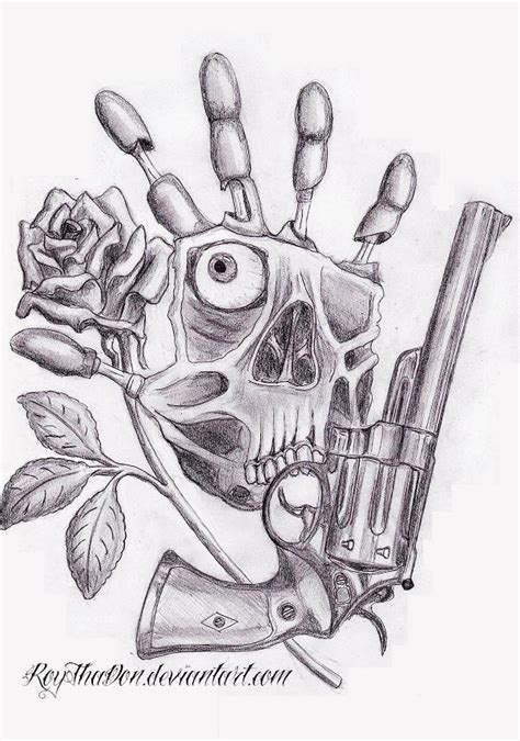 hand gun n rose by roythadon on deviantart