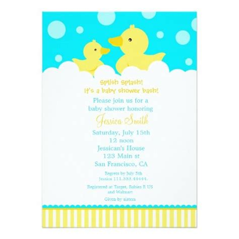 baby shower rubber sts rubber ducky duck baby shower invitation duck baby