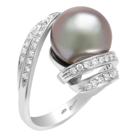 south sea tahitian pearl ring in 18k white gold setting
