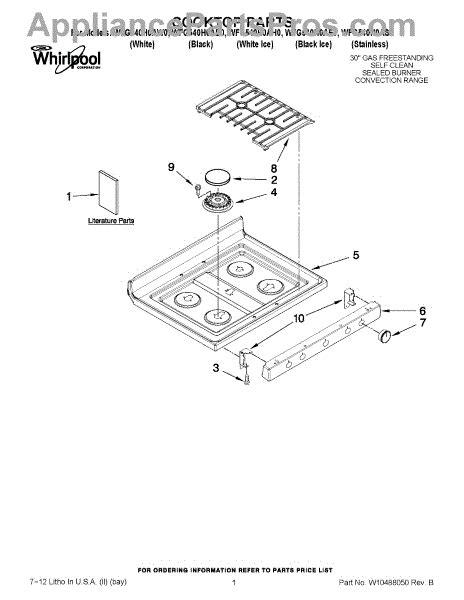 whirlpool cooktop parts whirlpool w10766544 appliancepartspros