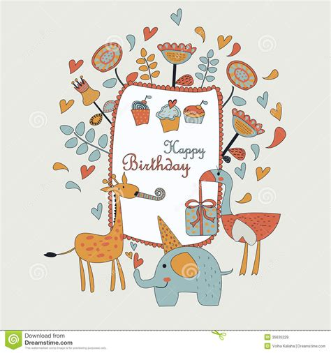 printable birthday cards giraffe happy birthday greeting card stock vector image 35635229
