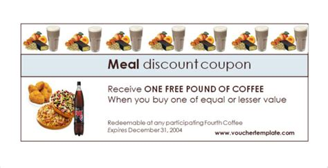 free meal coupon template free meal coupon template image collections free