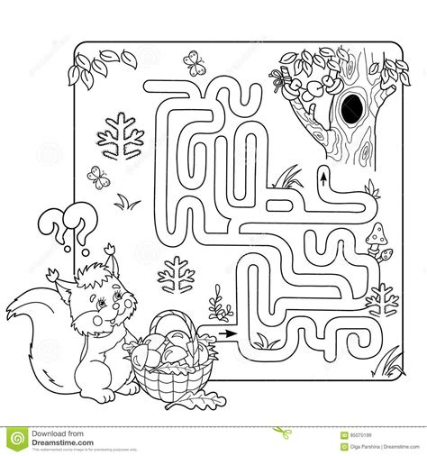 Labyrinth Outline by Maze Or Labyrinth For Preschool Children Puzzle Coloring Page Outline Stock Vector