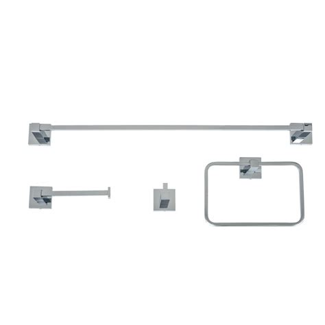 Brushed Chrome Bathroom Accessories Homeselects Essential 4 Bathroom Hardware Accessory Set In Brushed Nickel 1786 The Home