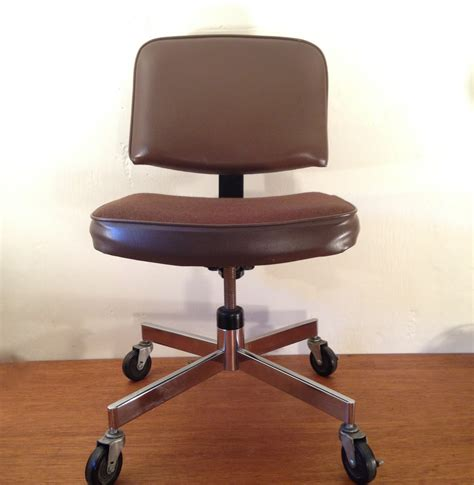 office desk chair vintage cushioned chrome by smartysfunstuff