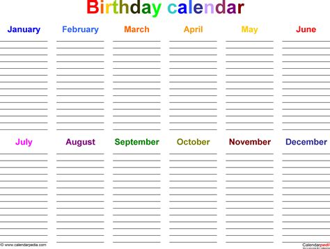 printable birthday chart template birthday calendars 7 free printable excel templates