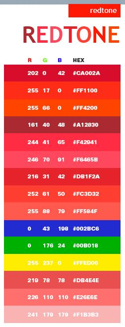 best red colors red tone web color scheme rgb html color palette