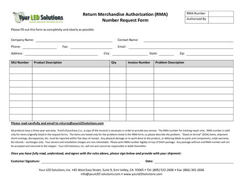 rma form template best photos of return merchandise authorization form