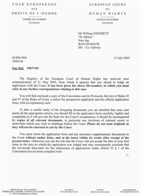 layout of a letter in irish scanned copy of letter from the european court of human