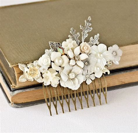 wedding hair comb bridal hair accessories vintage shabby