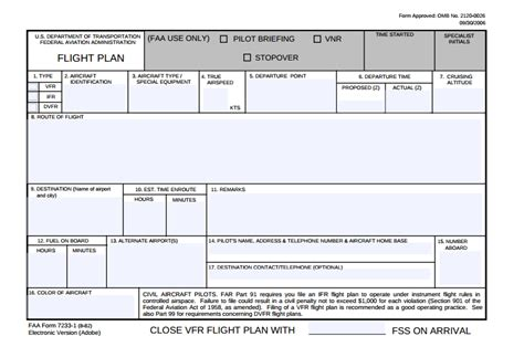 flight log template vfr flight plan form faa