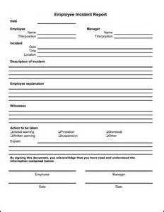 Workplace Incident Report Template by Employee Incident Report Template Description Of