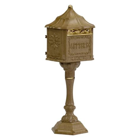 Colonial Pedestal Mailbox amco metal industrial corp amco colonial pedestal mailbox in antique moccasin residential