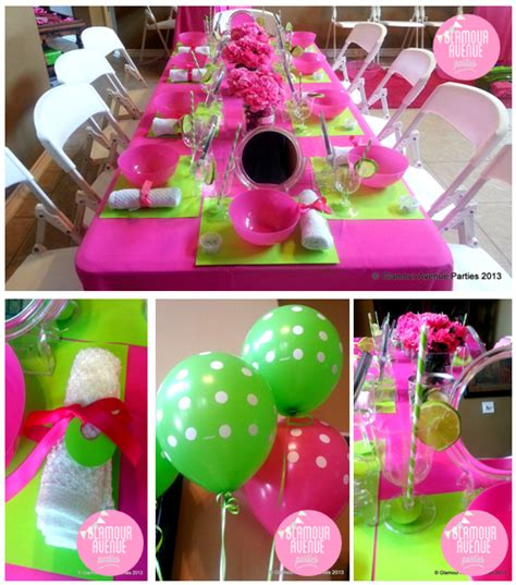 Pink And Green Decorations by Spa Birthday Ideas Photo 1 Of 37 Catch