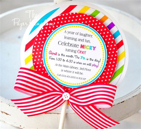 candyland crafts invitation