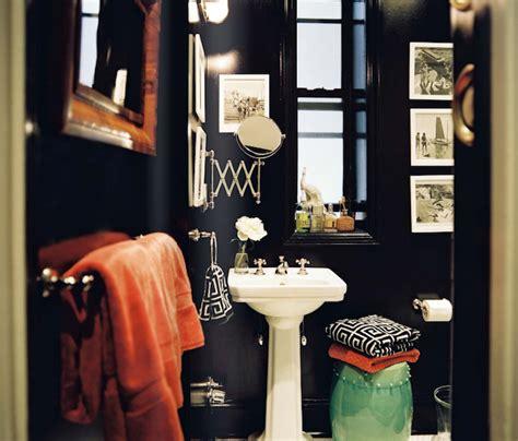bathroom with black walls greek key towels contemporary bathroom lonny magazine