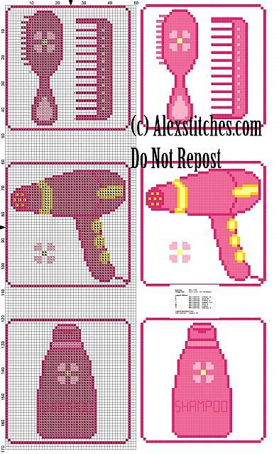 pattern holder cross stitch roll holder hairdryer and comb cross stitch pattern free