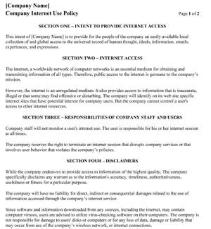 Company Internet Acceptable Use Policy 1 Small Business Free Forms Employee Acceptable Use Policy Template