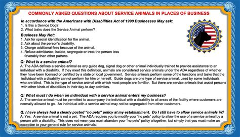 service animal card template service info cards 50 ada service service animal