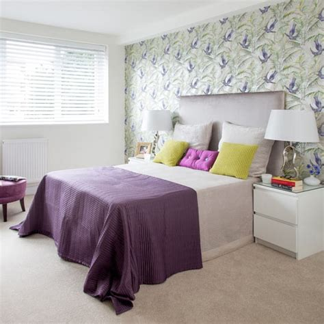 green feature wall bedroom purple bedroom with green floral feature wall purple