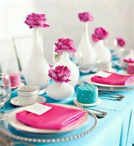 blue pink and white wedding blue white and pink tablescape onewed