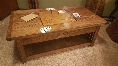 cribbage board coffee table coffee table w cribbage scrabble inserts by rhans47