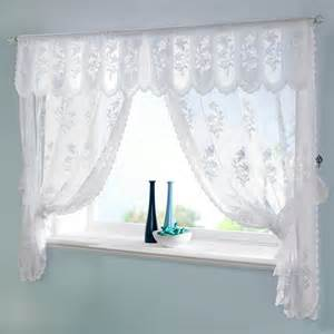 Curtains With Pelmet Attached Traditional Floral Jaquard Lace Susan Window Curtain Set Tie Back Pelmet White Ebay