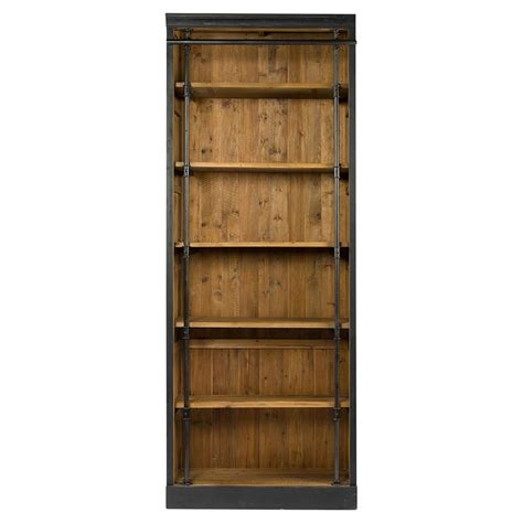 ashlyn rustic lodge pine wood metal bookcase kathy kuo home