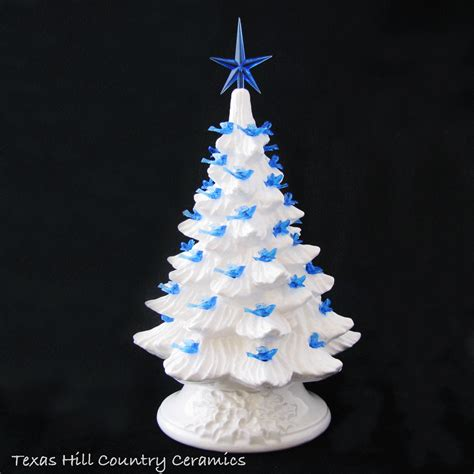 white ceramic tree with lights winter white ceramic tree with dove bird lights