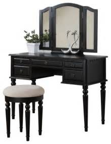 Makeup Vanity Table Black Tri Folding Mirror Make Up Table Vanity Set Wood W Stool