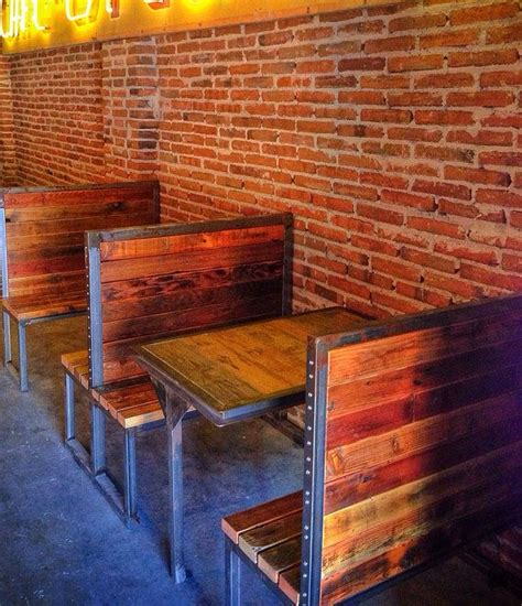 booth bench industrial metal and reclaimed wood bench or booth by theartcartel 350 00 salvage