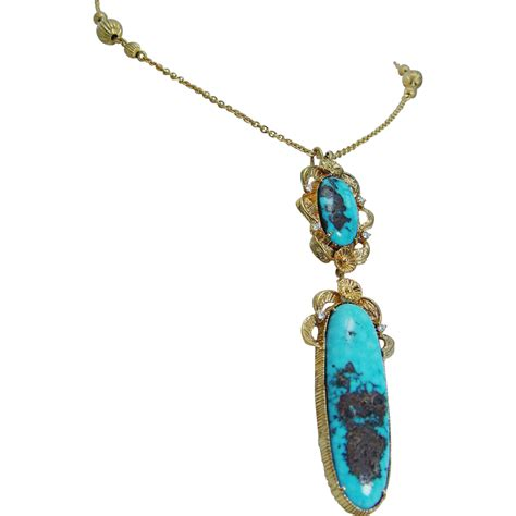 turquoise for jewelry vintage jewelry 14k yellow gold turquoise diamonds