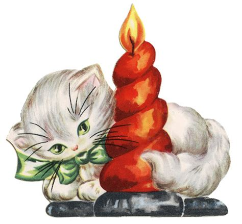 retro christmas clip art kitten  candle
