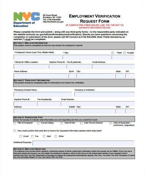 Employment Form Templates Employment Verification Request Form Template