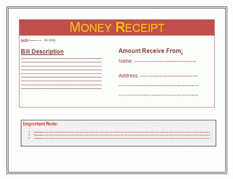 receipt for work done template money receipt template free business templates
