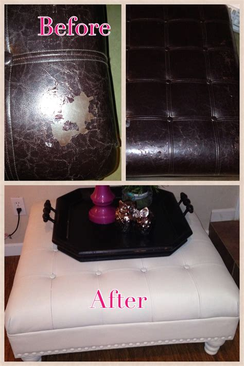 chalk paint leather before and after outdated peeling leather ottoman sanded