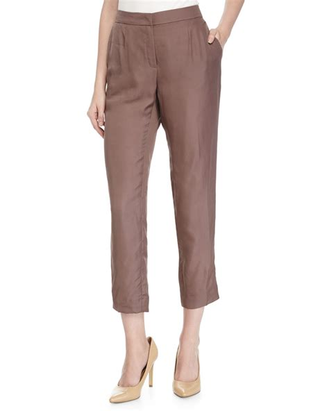 tapered pant lyst escada tapered leg cropped in brown