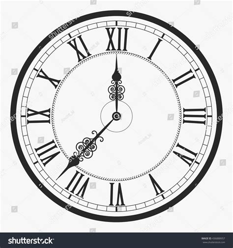 roman numeral clock tattoo wall clock vector