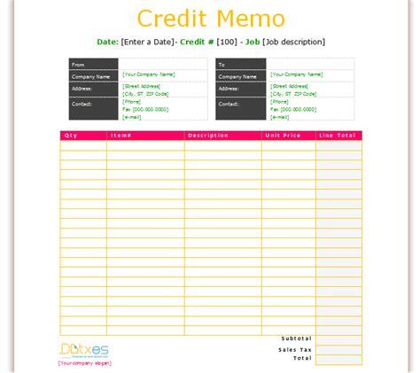 credit memo template basic format dotxes