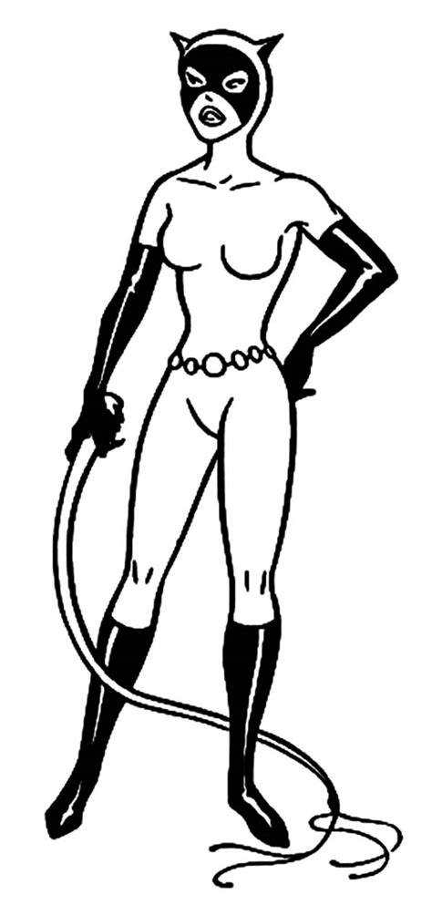 catwoman hold cat o nine tails coloring pages catwoman